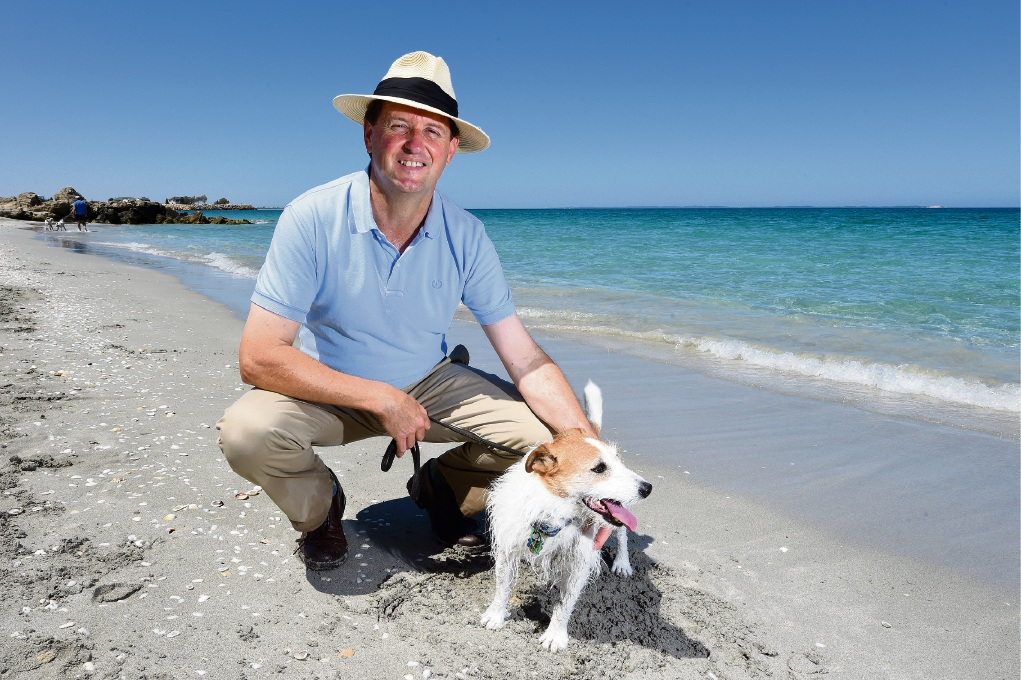 Liberal Party candidate for Fremantle Hayden Shenton with his dog Harry. Picture: Jon Hewson
