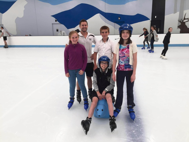 Jaye Barnesby-Buie, CAS founder Luke Britton, Luke Brookes (front in blue helmet), Marc Barnesby-Buie and Britteny Martino (girl in blue helmet) during a recent trip to the Cockburn Ice Arena.