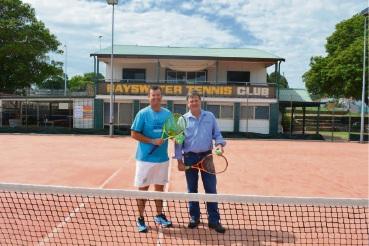 Bayswater Tennis Club coach Anthony Harbrow and president Dan Kerrigan.