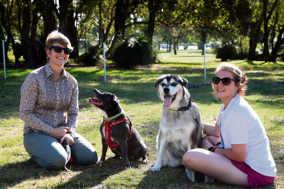 Victoria Arkell with her social butterfly Mana and Brogan McCabe with Jasper. Picture: Martin Kennealey www.communitypix.com.au   d466293