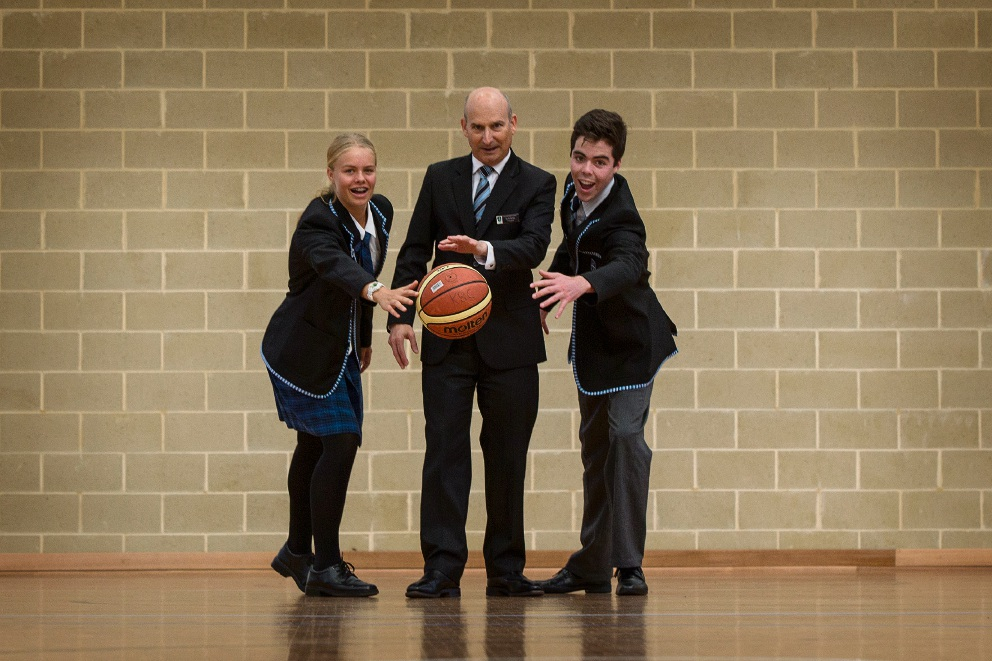 Kennedy Baptist College head girl Anna Zwitser, principal Mark Ashby and head boy Joe Frost. Picture: Will Russell