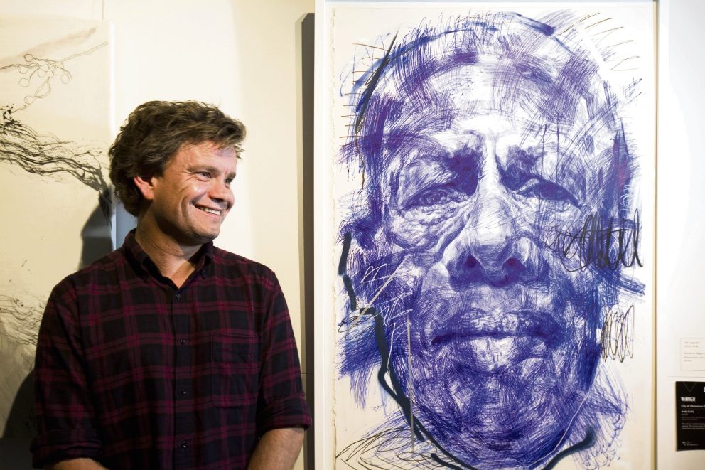 Last year's winner Andy Quilty with work Papa #3. Picture: Murray Armenti from Visions Photography