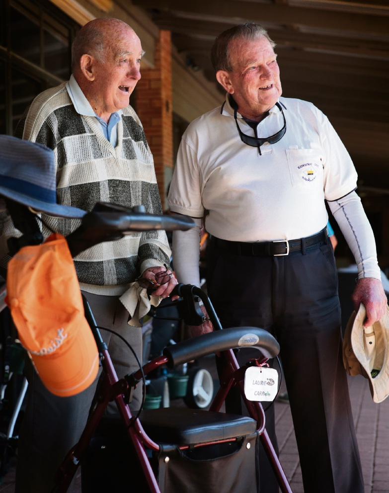 Laurie Carr with Jim Bell enjoying his visit to Wanneroo Golf Club. Picture: Martin Kennealey d465863