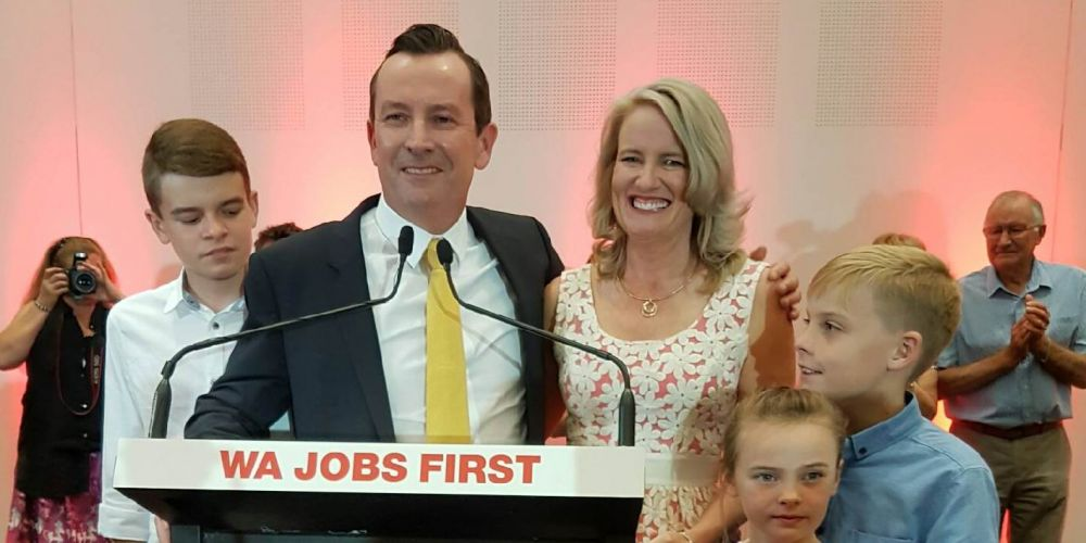 Mark McGowan with his family on Saturday night. Photo: Rachel Fenner