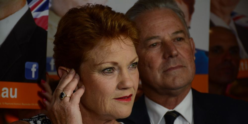 Senator Pauline Hanson addresses a Pauline Hanson's One Nation election function. Photo: AAP