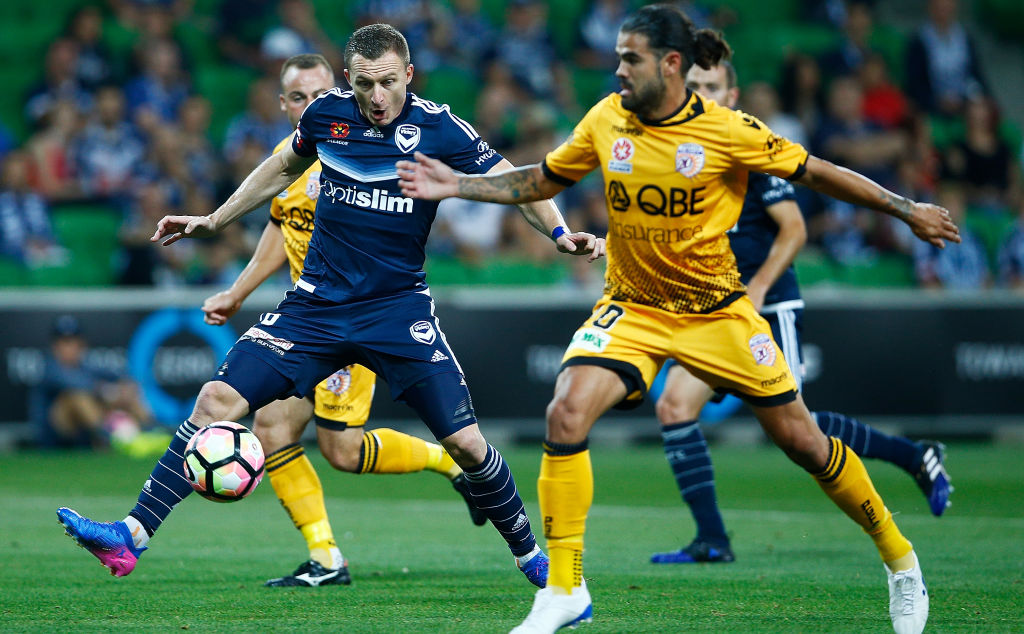 Besart Berisha of the Victory controls the ball against Perth Glory.  Picture: Daniel Pockett/Getty Images