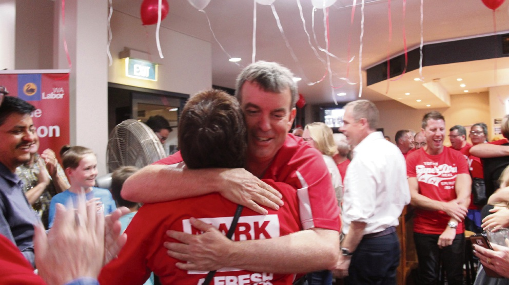Bassendean MLA Dave Kelly celebrates his win.