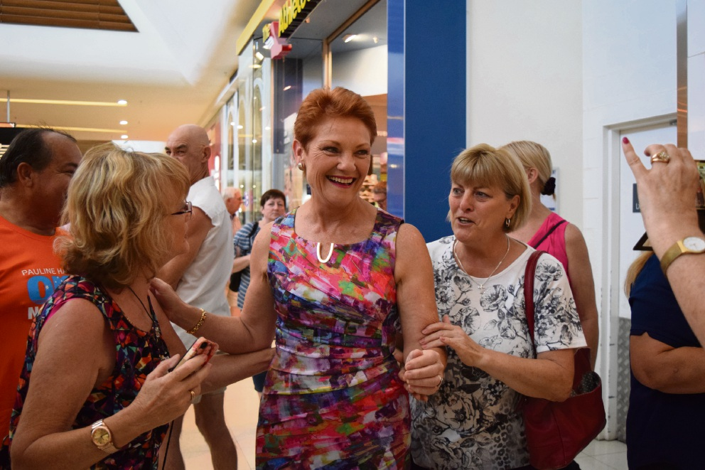 Pauline Hanson is greeted by shoppers in Midland last week. Picture: Sarah Brookes.
