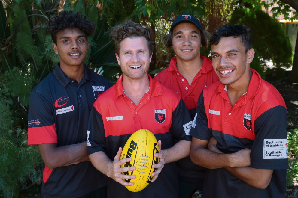Perth FC Aboriginal engagement officer Callum Walley (holding ball) with Gordon Narrier, Nicky Taylor and Sydney Stack.  Picture: Martin Kennealey        www.communitypix.com.au   d465864