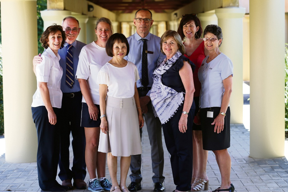 Jan Hill, Ron Lloyd, Jodi Power, Yoon Margaret, Jim Fitzpatrick, Jan Watkins, Veronica Brennan-Poland and Denise Fudger are staff members who have been at John XXIII College for 20 years or more. Picture: Andrew Ritchie               d466357