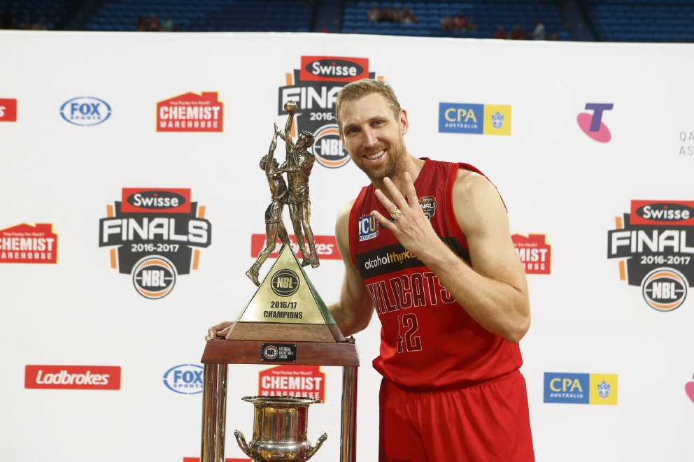 Shawn Redhage celebrated the Wildcats' fourth championship victory