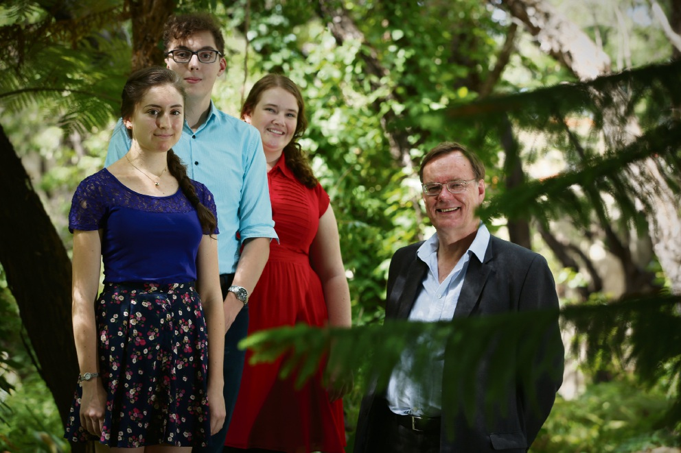 Choir director Dr Nicholas Bannan with singers Holly Broadbent (South Perth), Brock Stannard-Brown (South Perth) and Aishan Chadwick-Stumpf (Eden Hill). Picture: Andrew Ritchie