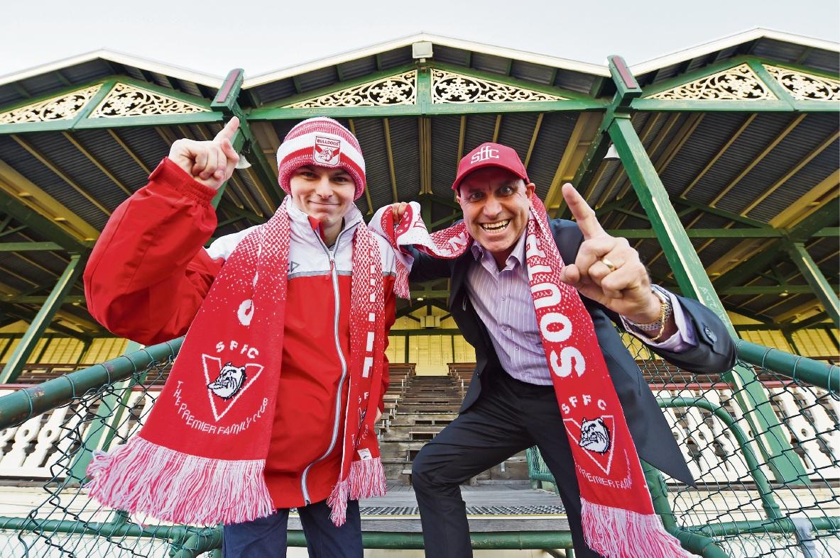 Die-hard Bulldogs fans Patrick Mirosevich and Russell Fletcher. Picture: Jon Hewson  d465666