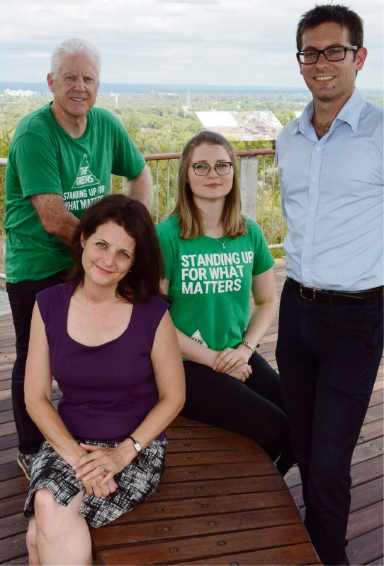 Greens anticipating disgruntled Liberals' support: Greg Boland, Alison Xamon, Joanna Durak and Dan Grosso.