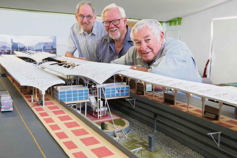 Richard Fry, Don Hunter and Louis Puccinelli built this model of Joondalup station. Picture: Bruce Hunt www.communitypix.com.au   d464396
