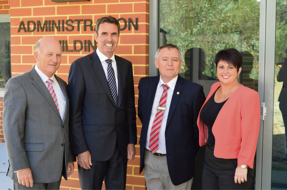 Member for Kalamunda John Day, Education Minister Peter Collier, principal Patrick Bourke and Liberal MHR Alyssa Hayden outside the new admin building at Gooseberry Hill Primary School.