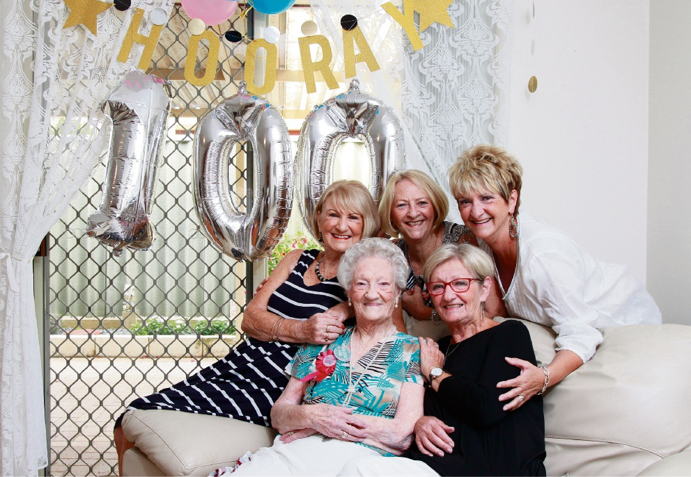 Gerogie Higginbotham (centre) turns 100 years old today (9 Feb 2017). Here pictured with her daughters (L-R) Sylivia Thurston, Anne Dooris, Linda Higginbotham (front, black top) and Patty Page. Picture: Marie Nirme