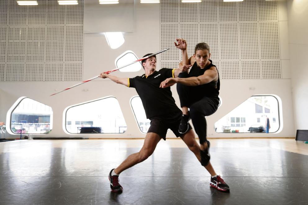 WAIS Javelin thrower Cruz Hogan with dancer Zoe Wozniak from Co3 contemporary dance company. Picture: Andrew Ritchie