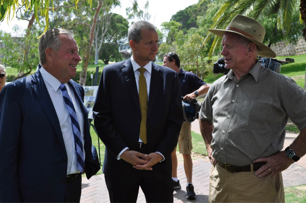 Premier Colin Barnett, Liberal candidate for Bicton Matt Taylor and Melville Water Polo Club member Harry Neesham.