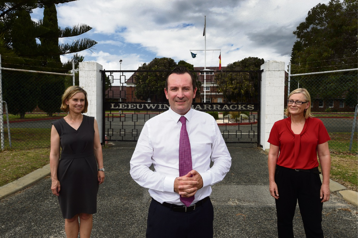 Opposition Leader Mark McGowan flanked by Fremantle MLA Simone McGurk (left) and Labor candidate for Bicton Lisa O'Malley. Picture: Jon Hewson