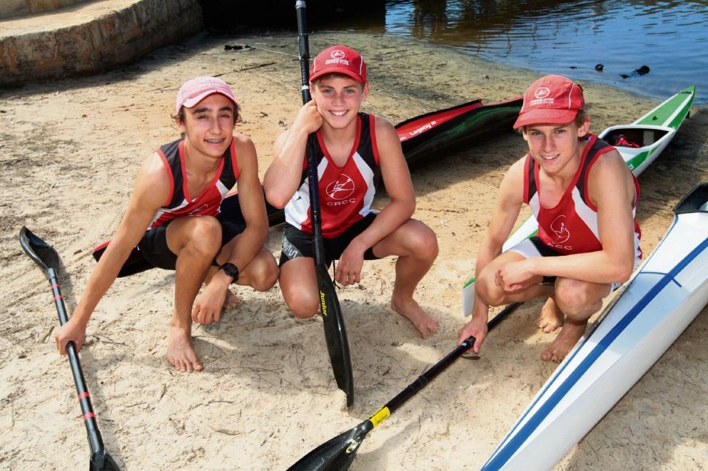 Luke Egger, Tom Green and Tim Hyde enjoy canoeing.  Picture: Bruce Hunt  d464076