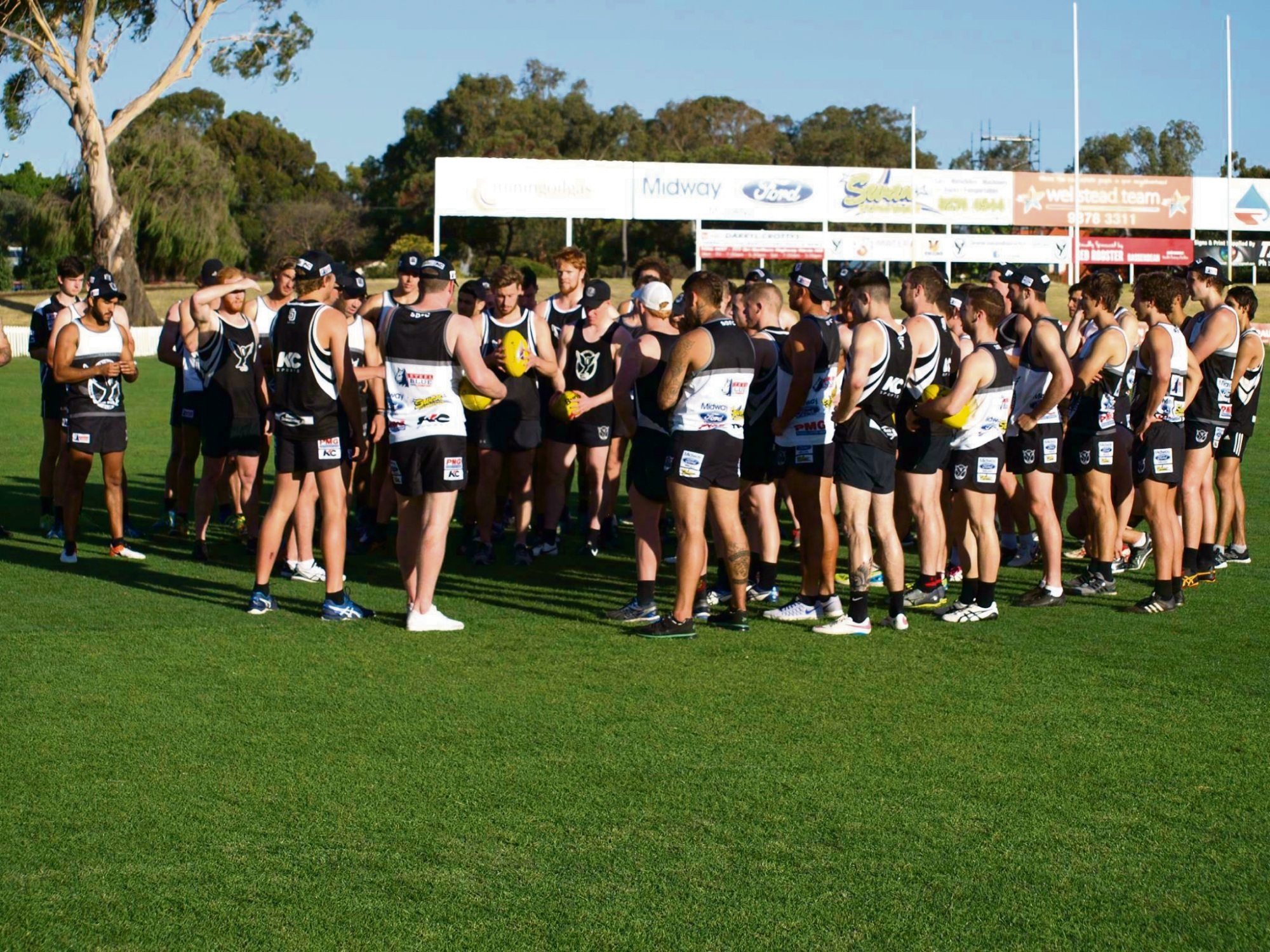 Swans at pre-season training at Bassendean Oval. Picture: Facebook