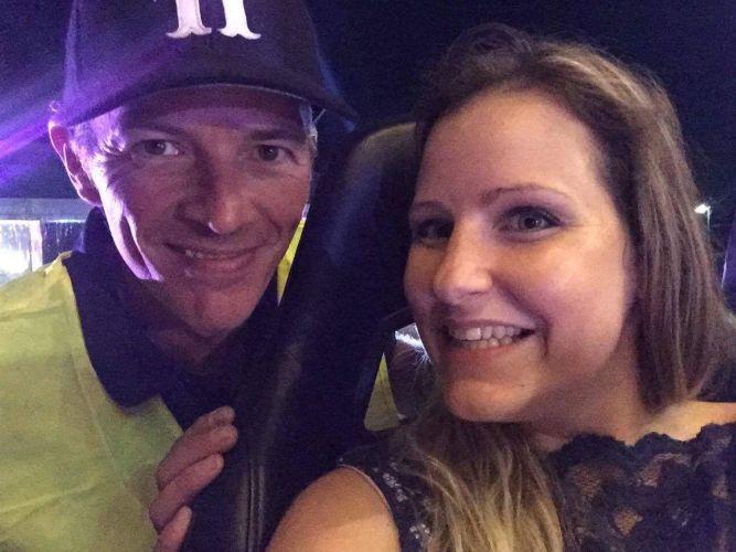 Sky high attendee Erika Doe takes a selfie with Dieter Brummer.