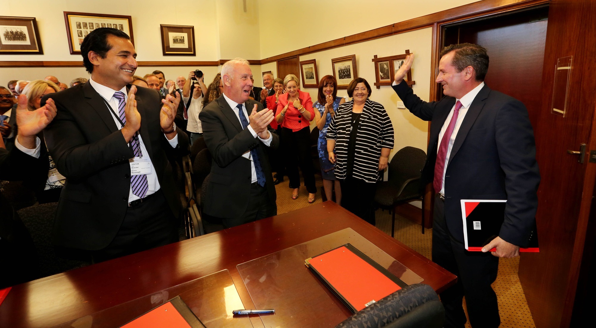Premier elect Mark McGowan is greeted in the Labor caucus. Photo: AAP
