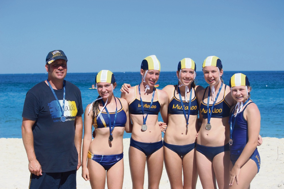 Silver medallist under-15 mixed five-person rescue and resuscitation team Ava Bushby, Heather Bytheway, Danielle Honor, Zara Martin and Neve Macleod with coach Paul Brierley.