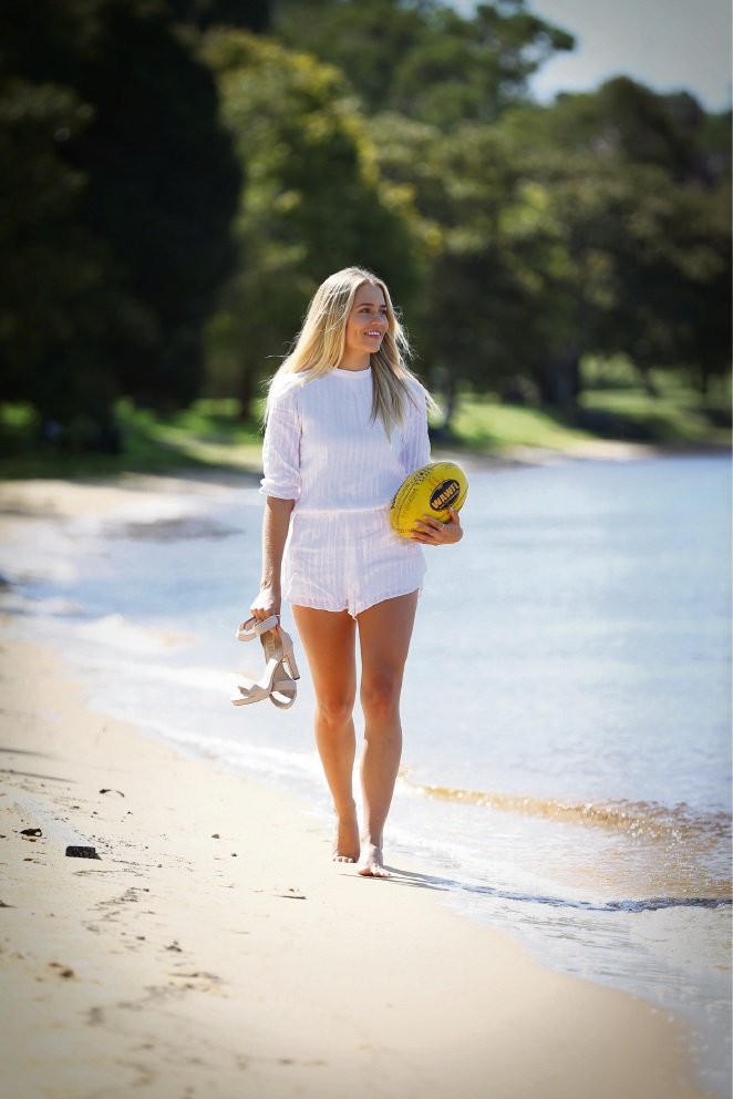 Miss West Coast: Swan Districts women's player Sharni-Leigh Kittow kicking goals on and off the footy field
