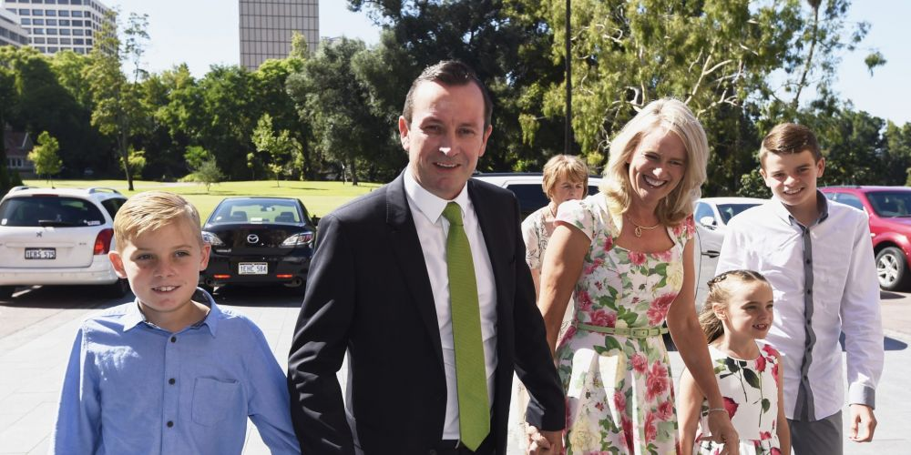 Mark McGowan arrives for his swearing-in ceremony on Friday. Photo: AAP