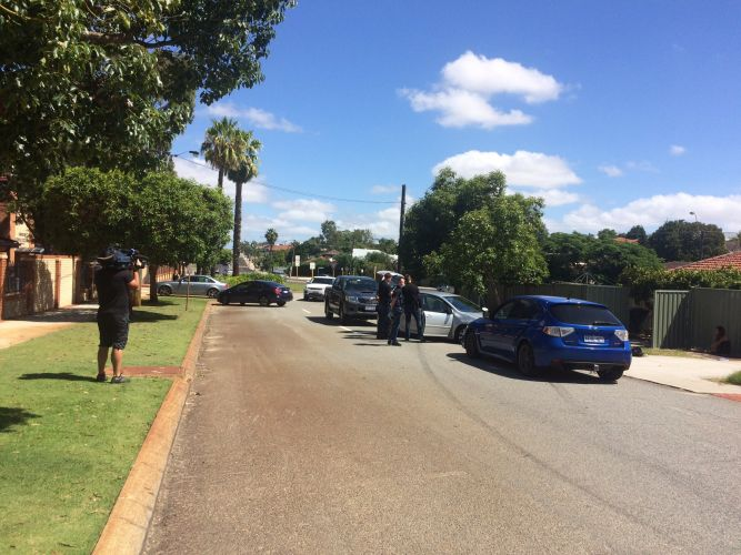 Police outside the school. Photo: Elizabeth Creasy, Nine News/Twitter