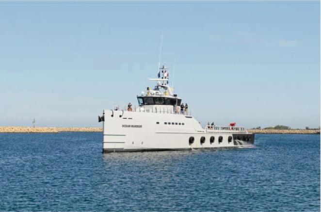 The Ocean Warrior arriving at Henderson.