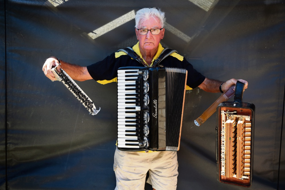 Can you help Ivor with a new accordion, or repair his |broken instrument? Picture: Martin Kennealey  d466172