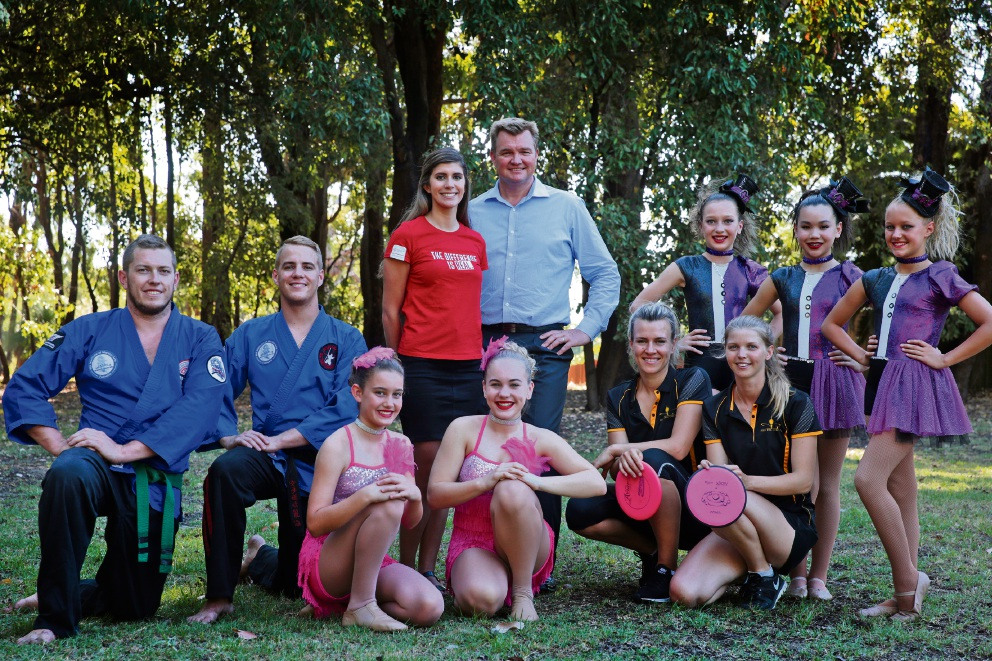 Tony Perrin and Leanne Spano of Frasers Property Australia with members of Waima, Vivace, Perth Disc and Hype. Picture: Martin Kennealey d466424