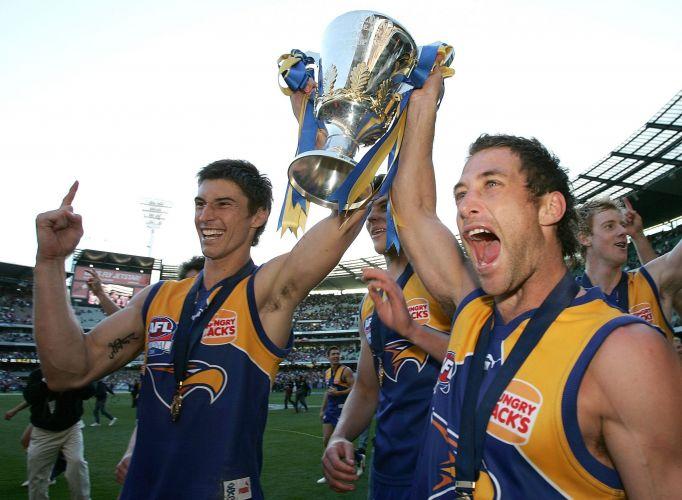 2006 premiership players Tyson Stenglein (l) and Chad Fletcher. Photo: Getty