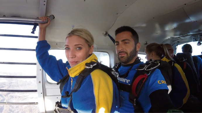Elise Nazzari just before she jumped out of the plane.