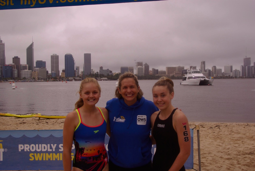 Olympic champion Libby Trickett with swimmers Phoebe Macgillivray and Breaze James.