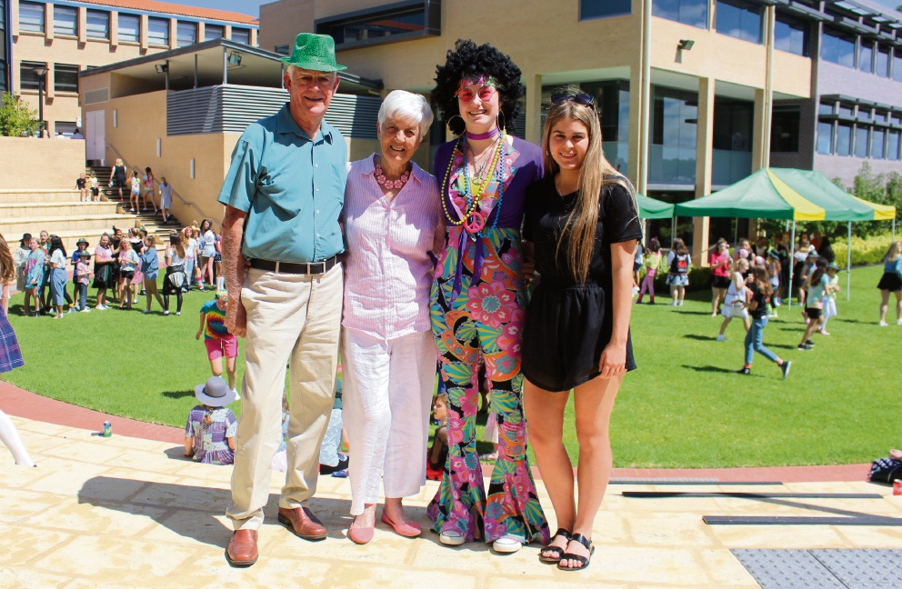 Barry and Lorraine Young thank Penrhos College students Charlotte Harvey-Lissienko and school secretary Haylee Katsanaskis for helping to organise the Amanda Young Fair.