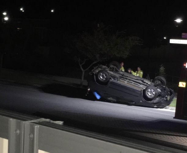 The overturned vehicle in Butler. Photo: Alison Buys.