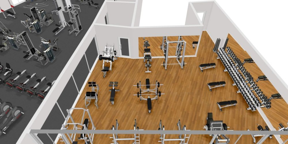 A concept image of the a new free weights room planned for LeisureFit Booragoon.