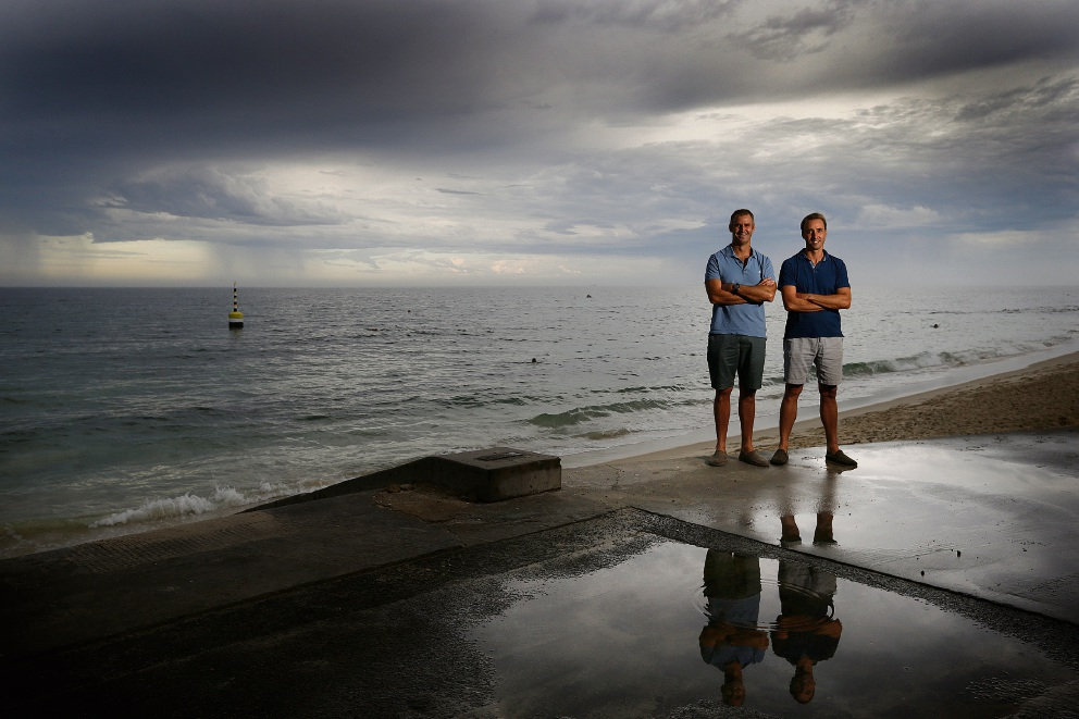 Brothers Ben and Tim Hewitt are training for Saturday's Port to Pub swim challenge.  Picture: Andrew Ritchie        www.communitypix.com.au   d466034