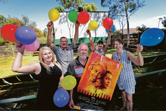 Savannah Prince, Alf Leaver, Heather Lynch and Jill Bonser with cinema owner Peter Foyster (holding poster). Picture: David Baylis d463709