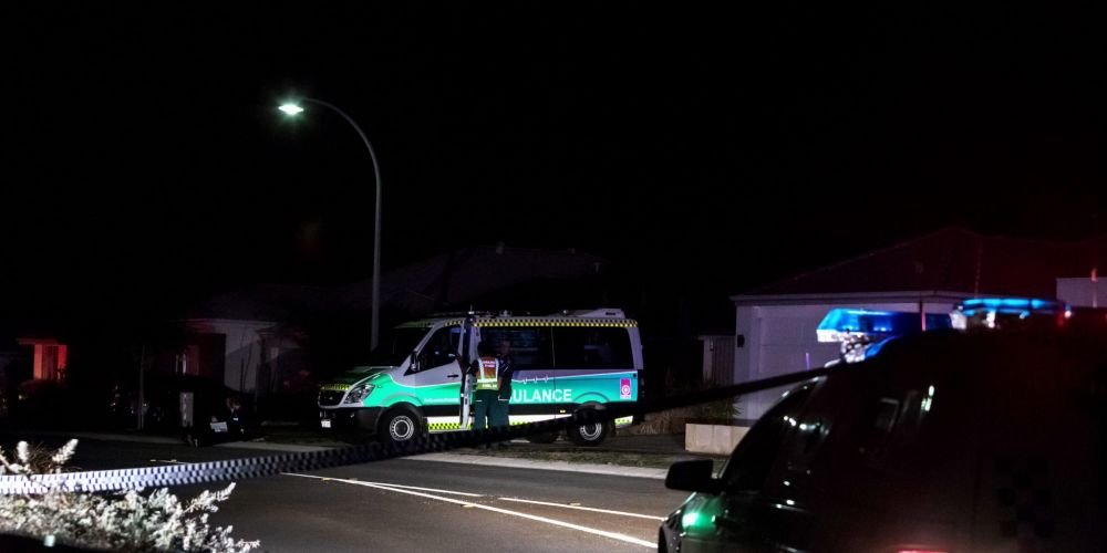 Police investigating the scene on Monday night. Picture: Kelly Pilgrim-Byrnes