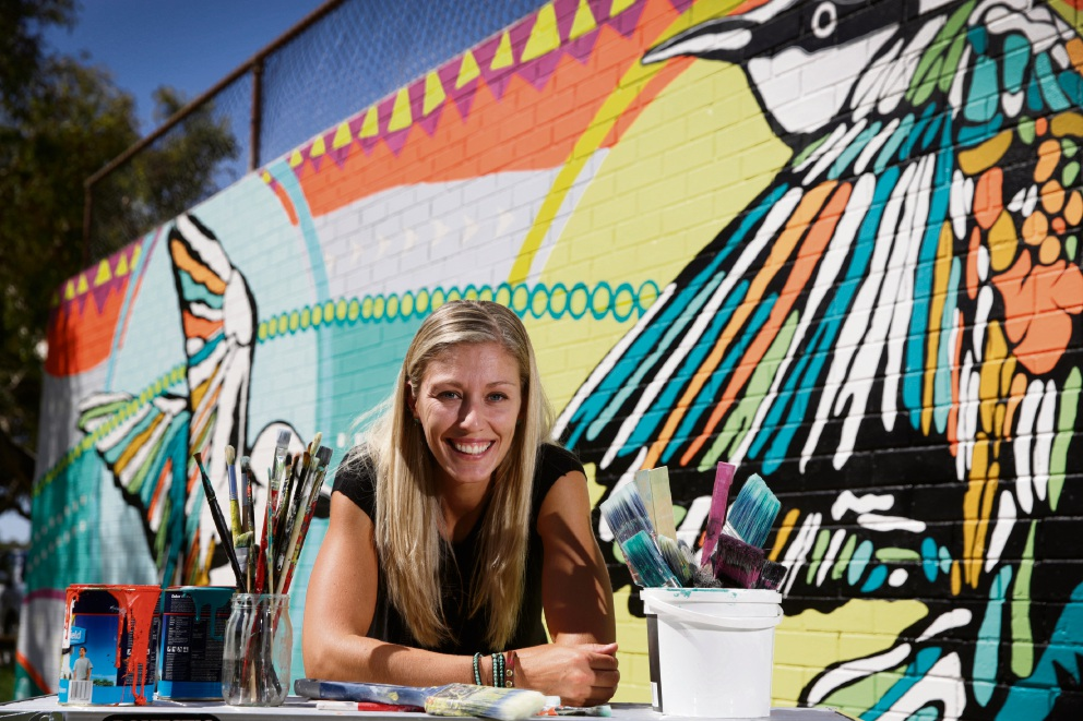 Local artist Kerise Delcoure recently painted a 27 sq m mural at Carine Open Space commissioned by the City of Stirling to introduce urban art into the area. Picture: Andrew Ritchie