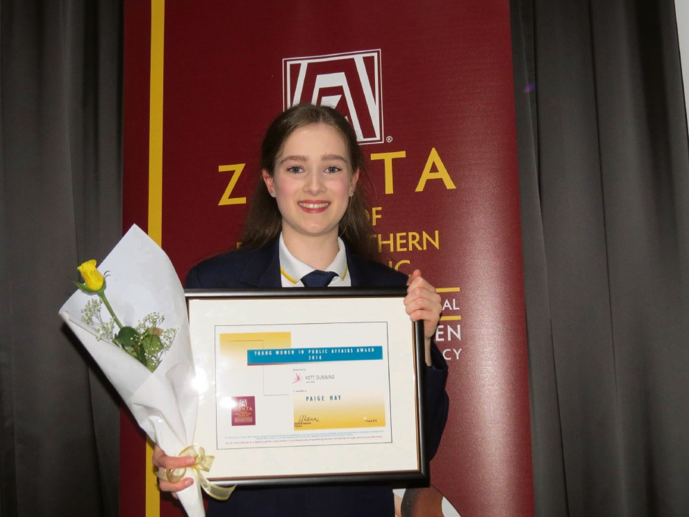 Woodvale Secondary College Year 12 student Paige May won last year's award from the Zonta Club of Perth Northern Suburbs.