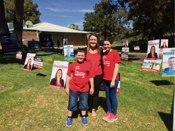 Joondalup MLA Emily Hamilton with her children Ryan (9) and Mya (11) on election day.
