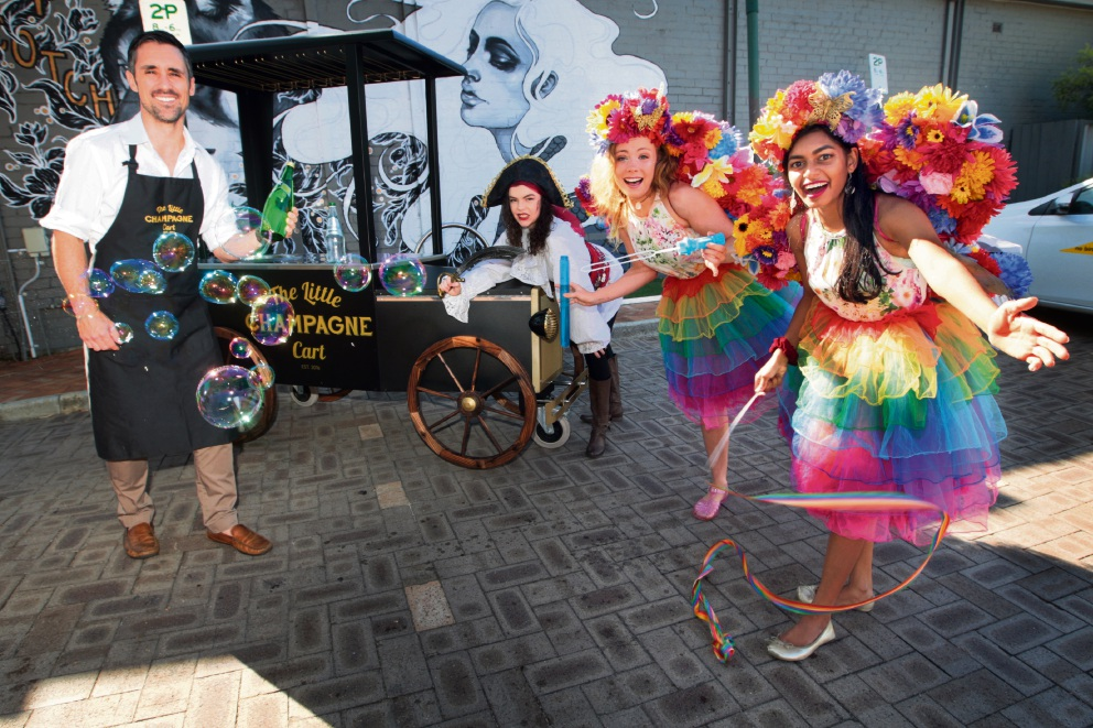 Trevor Candido, Pirate Maddie, Fairy Chloe and Fairy Pri are looking forward to Angelo Street Marketplace. Picture: Bruce Hunt d466397