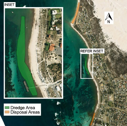 The Department of Transport is dredging around Lancelin Jetty.