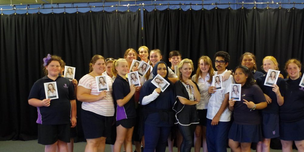 Rachael Beck with Dianella Secondary College students.